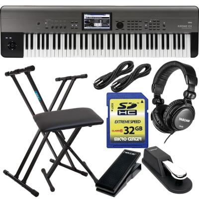 Korg Krome EX 73 – Music Workstation, Keyboard Stand, Bench, Sustain Pedal, Nektar NX-P, (2) 1/4 Cables, Tascam TH02, SD Card 32GB Bundle