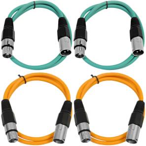 Seismic Audio SAXLX-2-2GREEN2ORANGE XLR Male to XLR Female Patch Cables - 2' (4-Pack)