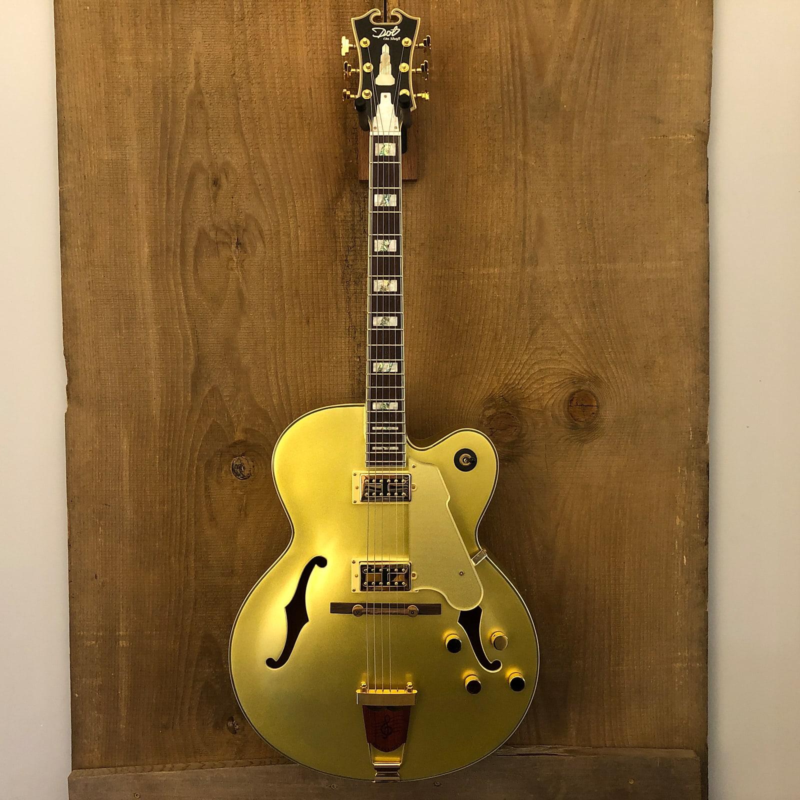 Dot on Shaft Carparelli Hollow Body Archtop Guitar Gold Metallic w/ Hard Case