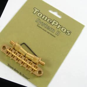 TonePros Metric Locking Tune-O-Matic Bridge Gold large posts