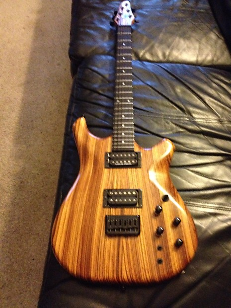 crescent moon zebra wood solid body electric guitar reverb. Black Bedroom Furniture Sets. Home Design Ideas