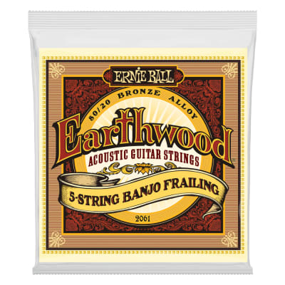 Ernie Ball 2061 Earthwood 5-String Banjo Frailing Loop End 80/20 Bronze Strings