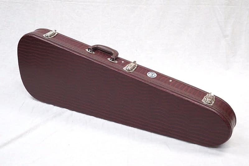 allen eden teardrop brown leather guitar case with brown reverb. Black Bedroom Furniture Sets. Home Design Ideas
