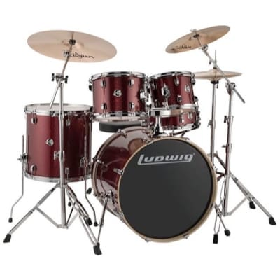 Ludwig Evolution Complete 5-Piece Drum Kit, Red Sparkle