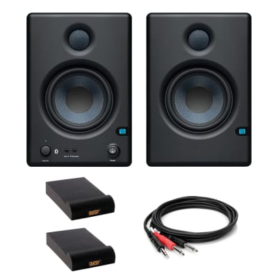 PreSonus ERIS BT 4.5 Bluetooth Media Monitors (Pair) with 2x Isolation Pad (Small) & 3.3' Stereo Male Y-Cable Bundle
