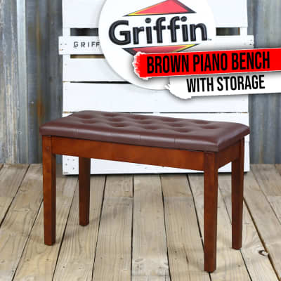 GRIFFIN Brown Leather Piano Bench Wood Keyboard Seat Music Storage Guitar Stool
