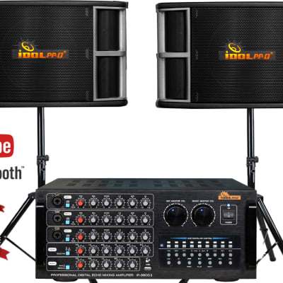 IDOLpro 1300W Karaoke System With New Mixing Amplifier and Dual 3 Way 800W Speakers and Stands