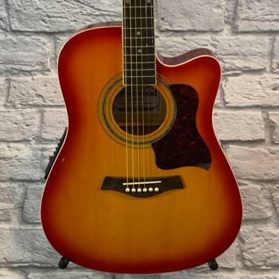 Crestwood 2017EQCS Solid Body Acoustic-Electric Guitar - Cherry Sunburst for sale