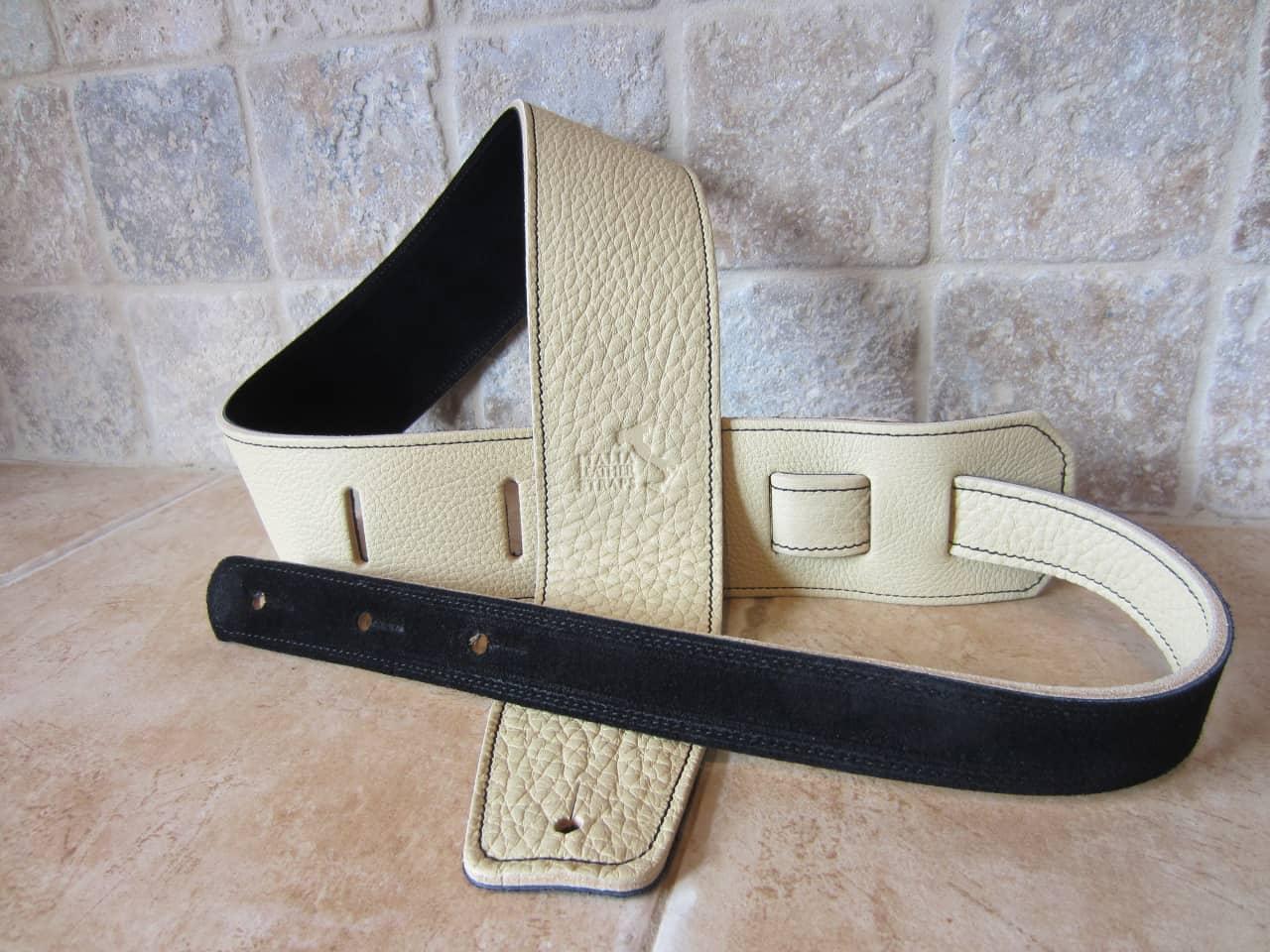 italia guitar straps 2 5 inch wide crema leather guitar strap reverb. Black Bedroom Furniture Sets. Home Design Ideas