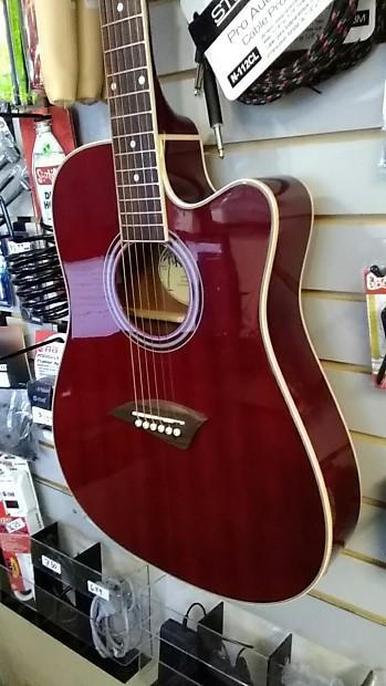 kona k2trd acoustic electric guitar transparent red w free reverb. Black Bedroom Furniture Sets. Home Design Ideas