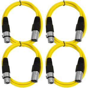 Seismic Audio SAXLX-2-4YELLOW XLR Male to XLR Female Patch Cables - 2' (4-Pack)