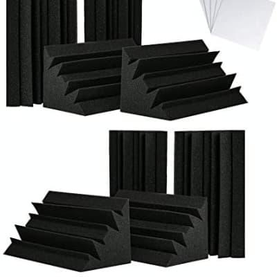 """8 Pack - 12 x 6 x 6"""" - Acoustic Bass Trap Corner, Studio Acoustic Foam, Acoustic Treatment Panels"""