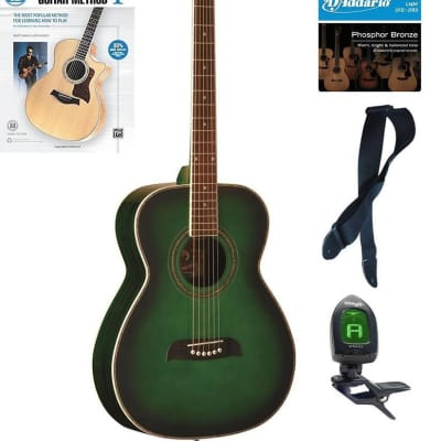 Oscar Schmidt Folk Style Acoustic Guitar, Spruce Top, Trans Green, OF2TGR Book Bundle, OF2TGR PACKBK for sale