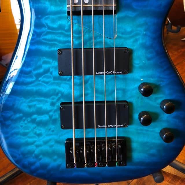 Wolf KTB 5 String Trans Blue Bass Guitar image