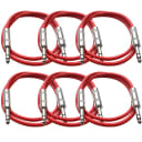 """SEISMIC AUDIO New 6 PACK Red 1/4"""" TRS 3' Patch Cables"""