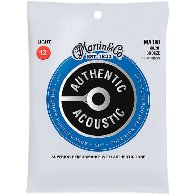 Martin MA190 Authentic Acoustic SP 80/20 Bronze 12-String Acoustic Guitar Strings - Light (.12 - .54