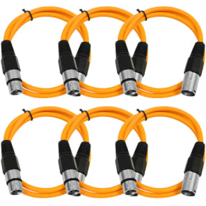 Seismic Audio SAXLX-3ORANGE6 XLR Male to XLR Female Patch Cable - 3' (6-Pack)