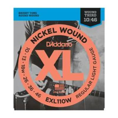 D'Addario EXL110W nickel wound electric guitar strings, Wound 3rd., .010-.046