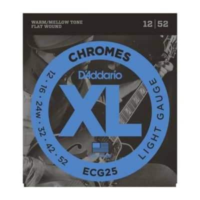 D'Addario Chromes Flat Wound Warm/Mellow Tone 12/52 Light Gauge