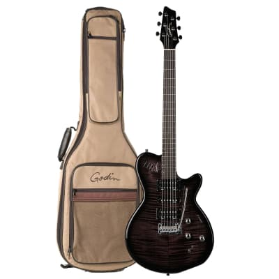 Godin 025503 xtSA Trans Black Flame 6 string Electric Guitar with Case for sale