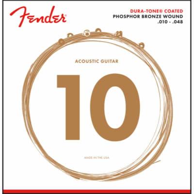 Fender 860XL Dura-Tone Coated Phosphor Bronze Acoustic Guitar Strings, Extra Light 10-48