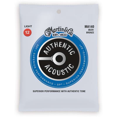 Martin MA140 80/20 Bronze Authentic Acoustic Guitar Strings, Light (12-54) image