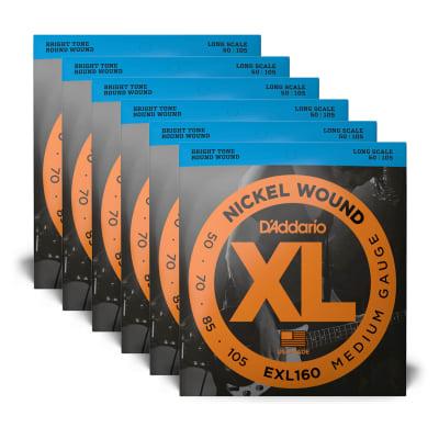 D'Addario EXL160 Medium Gauge 50-105 Long Scale 6 Pack Bundle