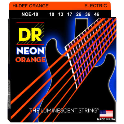 DR Strings NOE-10 NEON Orange Coated Electric Medium 10-46