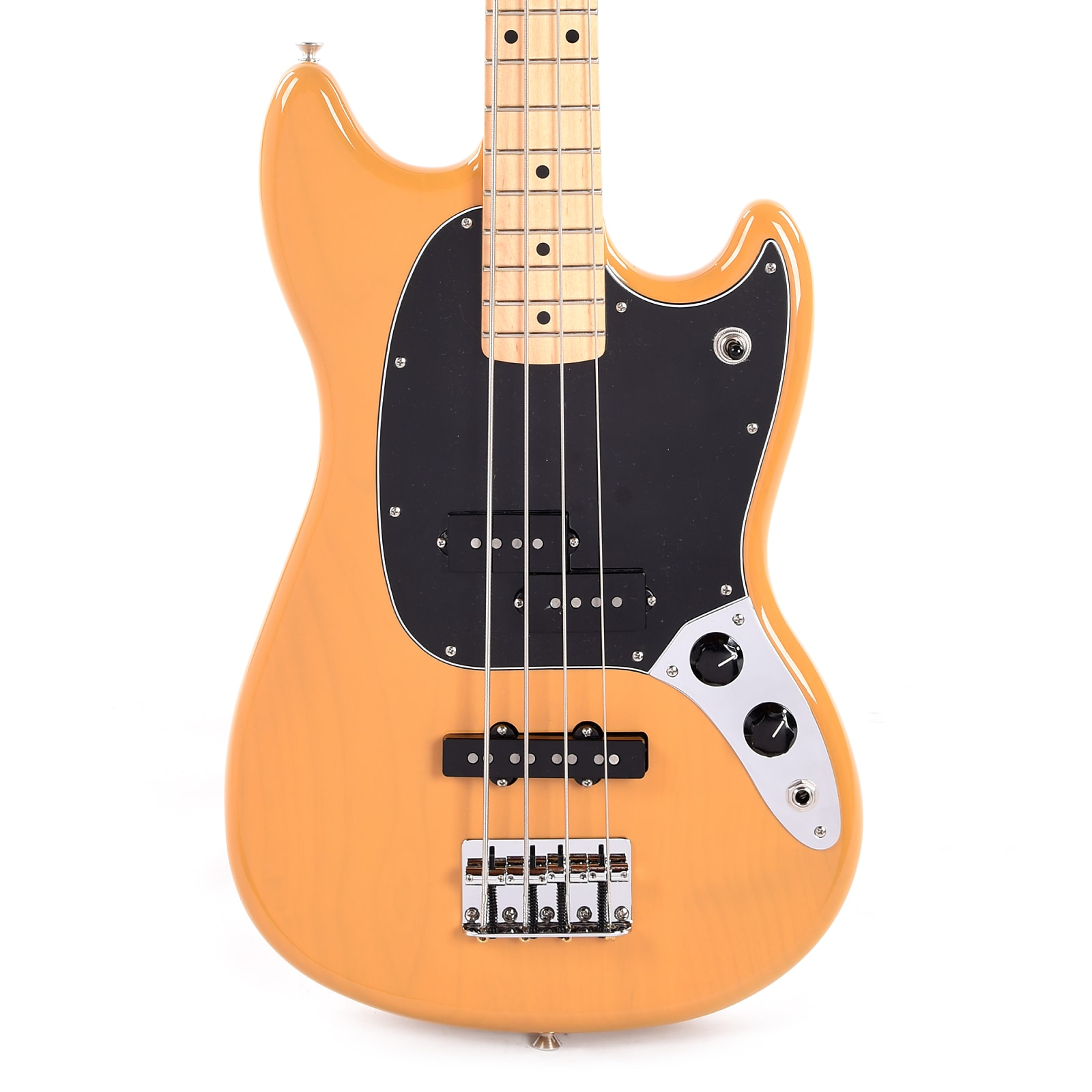 Fender Offset Series Mustang Bass PJ Butterscotch Blonde w/3-Ply Black Pickguard (CME Exclusive)