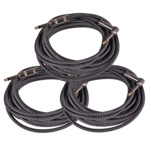 "Seismic Audio SAGCRSR-20-3PK Straight to Right-Angle 1/4"" TS Woven Cloth Guitar/Instrument Cables - 20"" (3-Pack)"