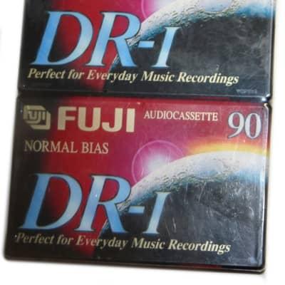 Fuji DR-I 90 Minute Normal Bias Type I Audio Cassette Tapes Extra Slim Case - NOS Sealed - 2 Pack