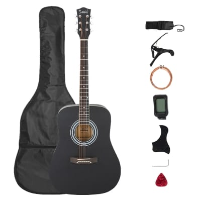 Glarry GT508 41in Solid Top Folk Acoustic Guitar Dreadnought Black for sale