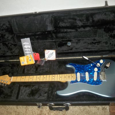 2014 Aged Mystic Ice Blue American Deluxe Fender Stratocaster Plus in High Excellent Condition for sale