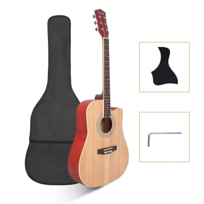 Glarry GT502 Dreadnought Folk Guitar Acoustic Guitar With Bag Burlywood for sale