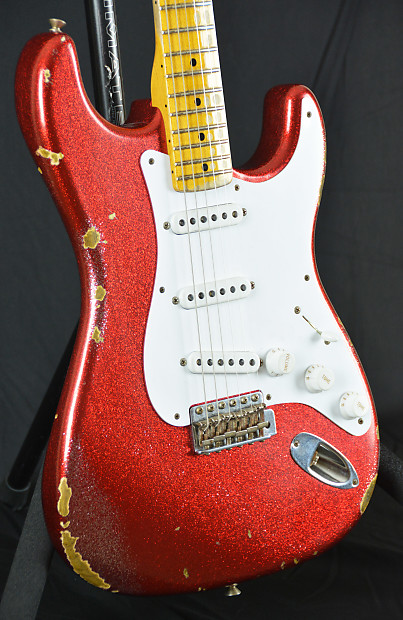 🎥VIDEO! Fender Stratocaster Custom Shop 1954 Relic Sparkle Glitter Red  Strat MINT RAR