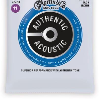 Martin MA175 SP 80/20 Bronze Authentic Acoustic Guitar Strings Custom Light 11-52