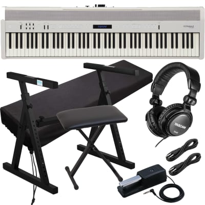Roland FP-60 Piano (White) - DP-10 Pedal (Included), Knox Heavy Duty Stand, Bench, Tascam TH02, Dust Cover, (2) 1/4 Cables Bundle