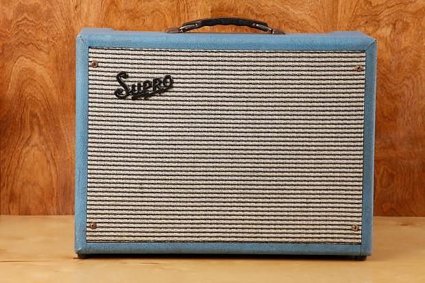 Rare vintage 1964 Supro 16T Trinidad Blue Tube Amplifier