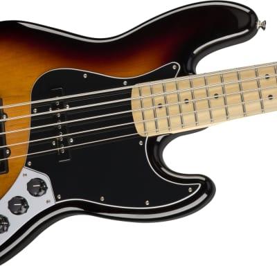 Fender Deluxe Active Jazz Bass V 3-Color Sunburst. 5 String Bass with Gig Bag for sale
