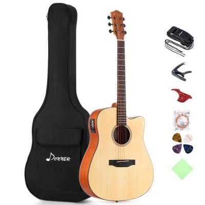 Electric Acoustic Guitar Cutaway 41'' Full-size Guitar Bundle