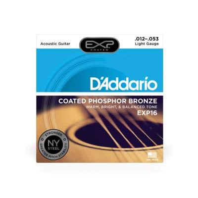 D'Addario EXP16 Light Gauge Coated Phosphor Bronze Strings 12-53