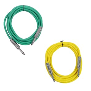 """Seismic Audio SASTSX-10-GREENYELLOW 1/4"""" TS Male to 1/4"""" TS Male Patch Cables - 10' (2-Pack)"""