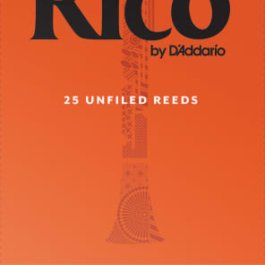 D'Addario (Rico) Clarinet Reed Bb (B - Flat) 2.5 Unfiled 25 Pack