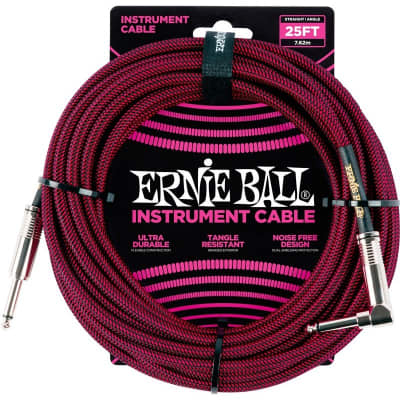 Ernie Ball 6062 Braided Instrument Cable, 25ft/7.6m, Black/Red for sale