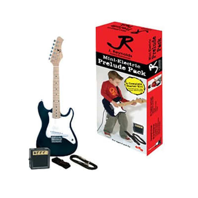 New J. Reynolds JRPKSTBK Kids 1/2 Size Mini Electric Guitar Prelude Package, Black for sale