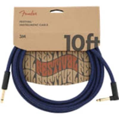 Fender 10' Angled Festival Instrument Cable Pure Hemp Blue Dream