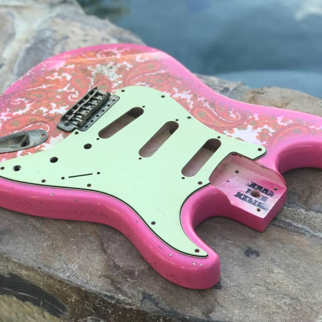 Real Life Relics Strat Stratocaster Body Aged Pink Paisley image