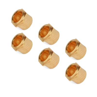 StewMac Vintage-style Tuner Bushings, Hex tapered, gold, set of 6 for sale