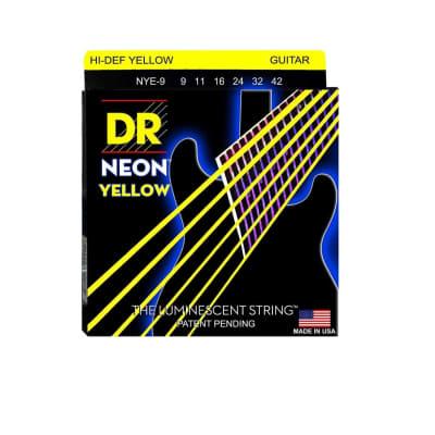 DR Strings NYE-9 Coated Nickel Hi-Def Yellow Electric Guitar Strings, Light, 9-42