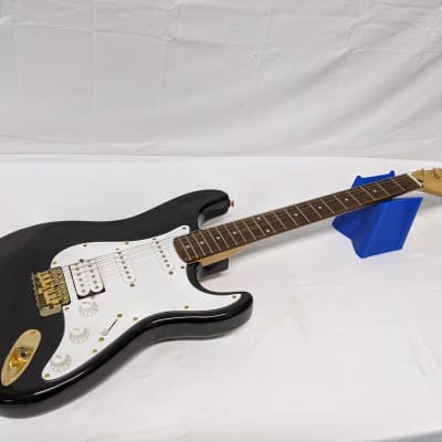 Bently Double Cut Electric Guitar Black W/ Gold Hardware HSS Stratocaster Strat Style Guitar for sale